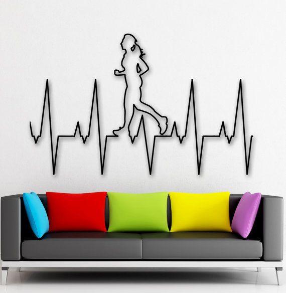 Parete sano stile di vita cuore in esecuzione sport Vinyl Sticker adesivi (ig2380)