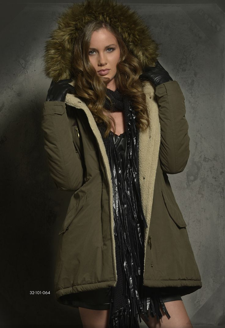 Ladies' jacket with detachable hood & fake fur around hood. www.biston.gr