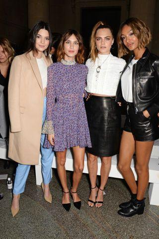 Kendall Jenner, Alexa Chung, Cara Delevingne and Jourdan Dunn at Topshop Unique front row