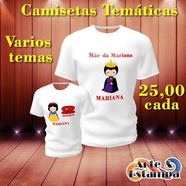 Camisetas temáticas para aniversário e eventos!  25,00/Cada  Temos todos os tamanho!  Só na cor branca!