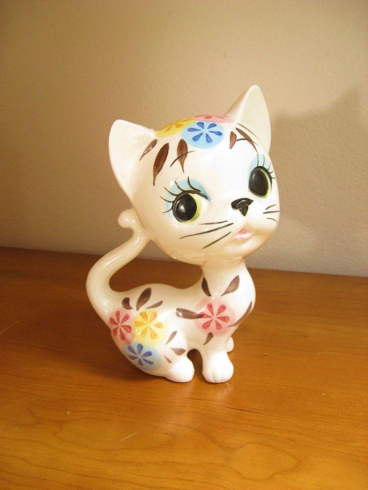 Vintage Ceramic Cat Figurine or Statue, Kitten, Kitty, Large, Mid Century, Modern, made in Japan. $26.00, via Etsy.