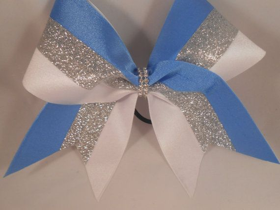 Cheer Bow Columbia Blue / Silver Glitter / by BlingItOnCheerBowz