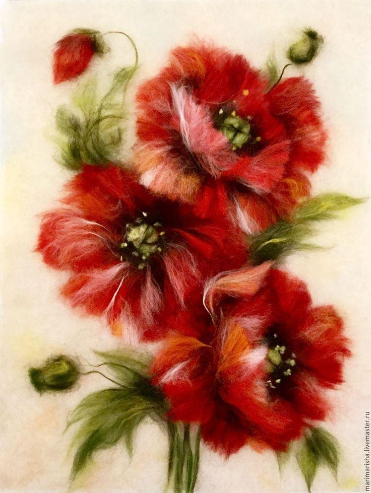 Картина из шерсти Маки2 - ярко-красный, картина из шерсти, живопись шерстью, Живопись