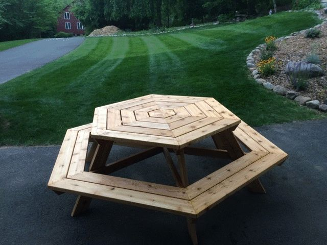 hexagonal picnic table made by Bill Kelly