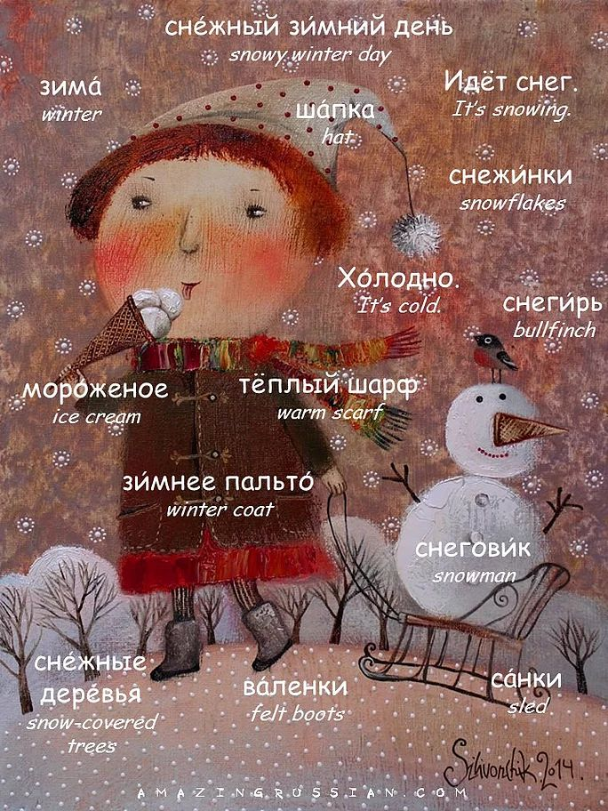 What vocabulary could be more appropriate on a winter day than winter vocabulary? Learn a few winter words and see if you can answer the questions.     Сн