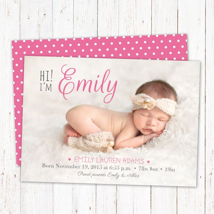 """Personalized birth announcement card. Baby girl announcement card. Custom newborn card design ready to print. Digital file. Size 5""""x7"""". by PenguinGraphics on Etsy"""