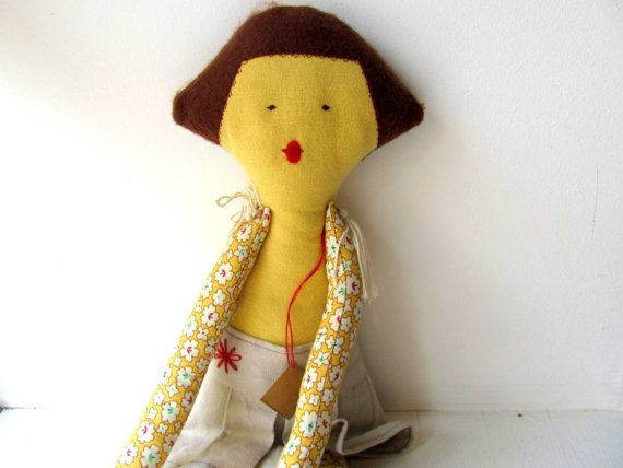 Noa DollChild friendlyRecycledToy-Cotton-yellow by AnnaLela