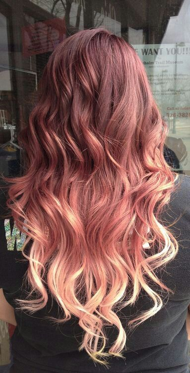 Brunette to strawberry blonde ombre