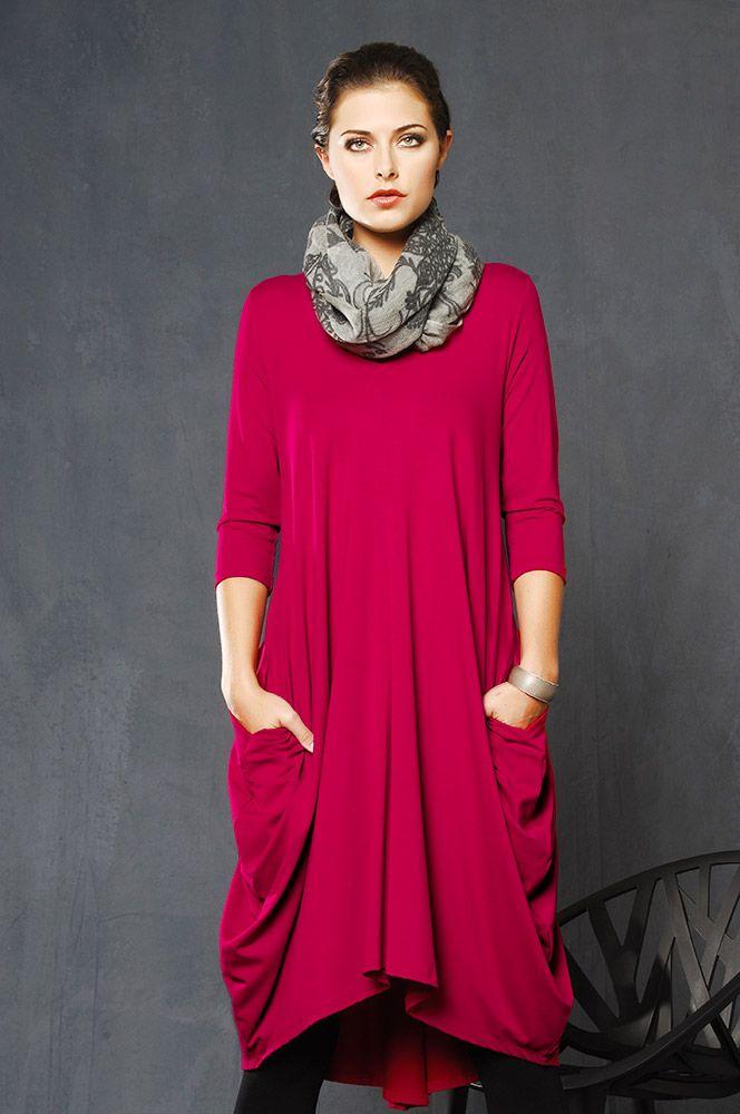 5287 Crimson Merino V-Neck Tulip Dress