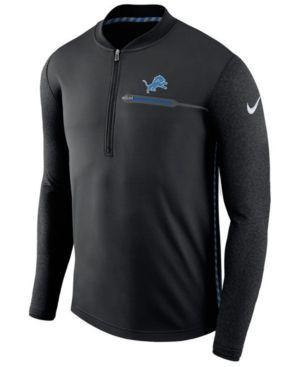 Nike Men's Detroit Lions Coaches Quarter-Zip Pullover - Black