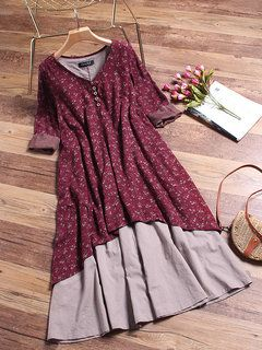 Women Pure Color Buttons Vintage Shirt Mini Dresses Online - NewChic Mobile