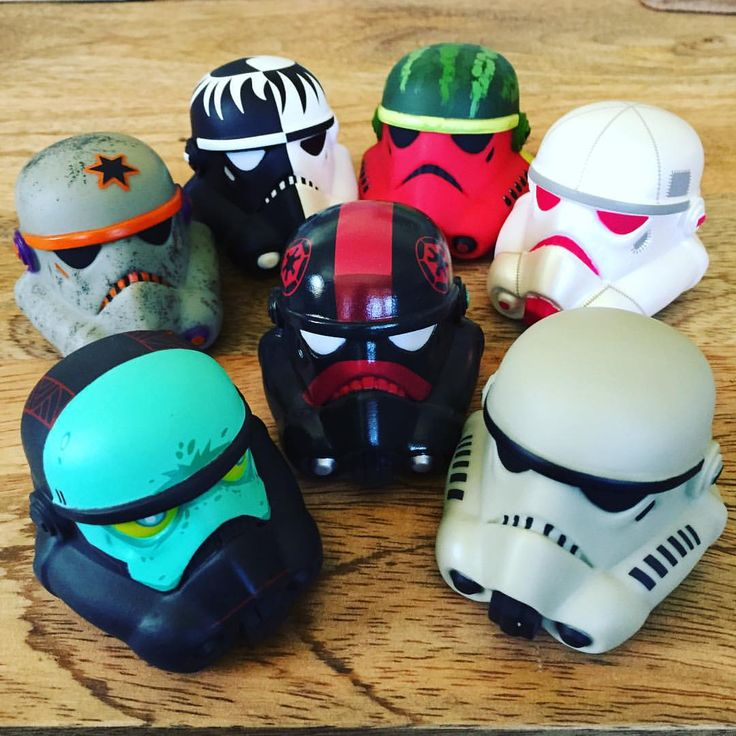 Stormtrooper helmets ... '    To any #starwars people, I still have this nearly complete set of Legion helmets for sale. Blind-box style vinyl #stormtrooper helmets. For sale at cost of $100 for the set plus shipping (originally cost $12.95 each plus tax). #vinylmation #d23 #d23expo #starwarsstuff #forsale ... °°