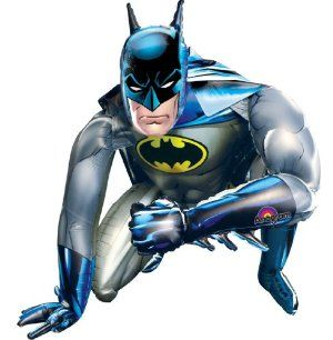 """Batman Airwalker Balloon - Huge Batman Balloon - 36 inches! by Anagram. $18.99. This airwalker balloon is 36"""" x 36""""!. Batman Airwalker Balloon. 1 Batman Jumbo Airwalker balloon per package. Includes (1) themed airwalker foil balloon. Plastic; 36""""H. This is an officially licensed DC Comics product."""