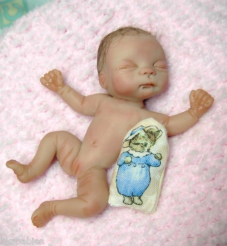 Ooak Miniature 3 5 Inch Polymer Clay Newborn Baby Girl Art