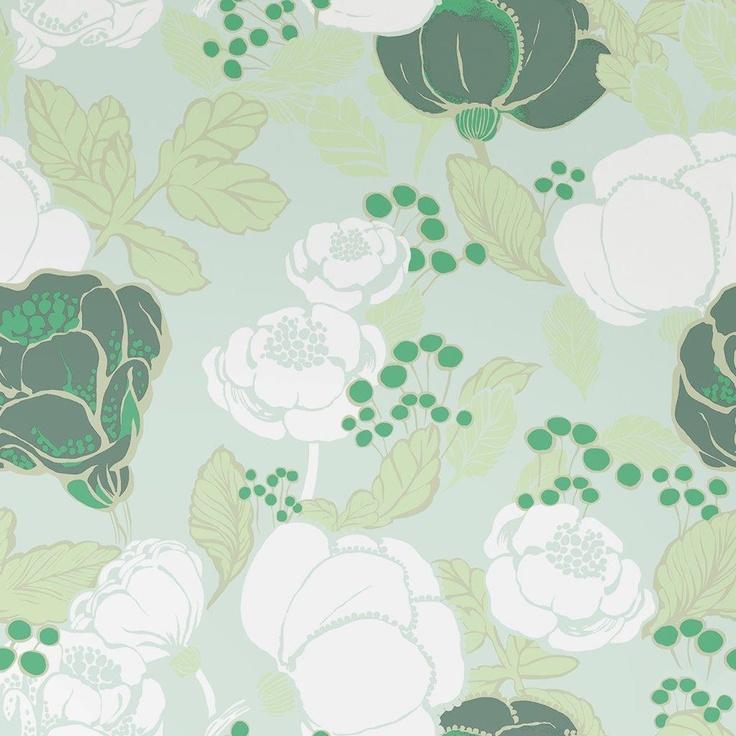 Kullanmuru wallpaper, green. Design Saara Eklund