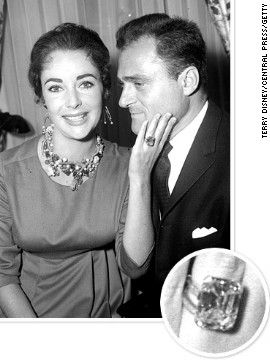 Movie producer Michael Todd proposed to Elizabeth Taylor with a massive 30-carat diamond ring. The couple married in 1957.
