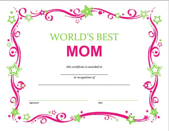 Free Mothers Day Printable Certificate Printable