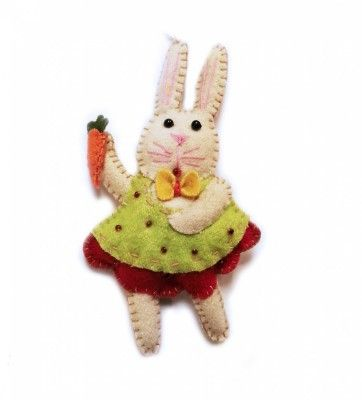 Daisy, the 5.5″ White Rabbit in Bow Tie Green Dress Ornament | Little Handcrafts