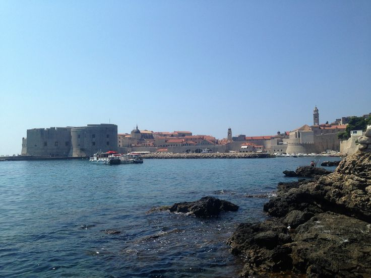 View of Old Town Dubrovnik from Banje Beach, Croatia