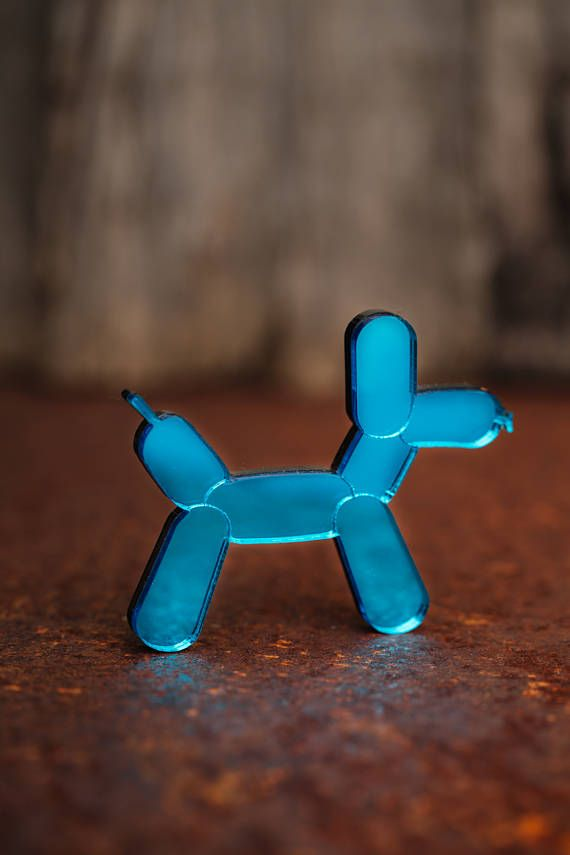 NEW Blue Balloon Dog Necklace or Brooch - Mirror Acrylic
