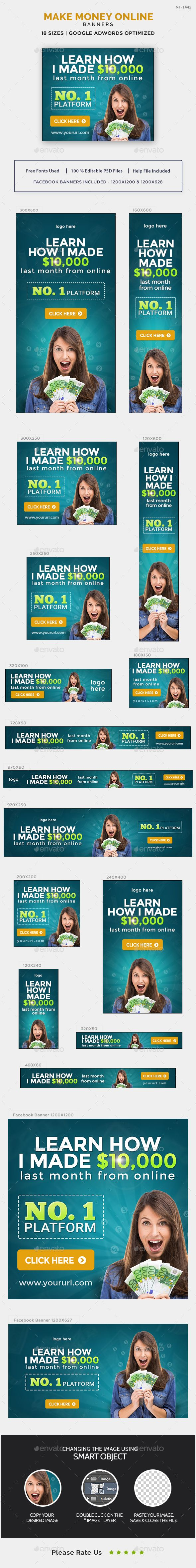 Make Money Online Banners Template PSD. Download here: https://graphicriver.net/item/make-money-online-banners/17230387?ref=ksioks