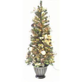 allen + roth 5-ft Indoor/Outdoor Pine Pre-Lit Artificial Christmas ...