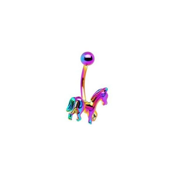Rainbow Electro Titanium Noble Horse Belly Ring ($1.99) ❤ liked on Polyvore featuring jewelry, rings, belly ring, horse jewellery, titanium ring, horse ring, belly button rings and titanium belly button rings