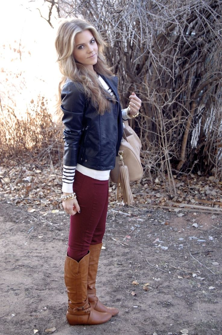 oxblood skinnies +striped blouse + leather jacket + brown tall boots