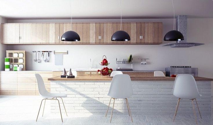 99 id es de cuisine moderne o le bois est la mode for Idee disposition cuisine