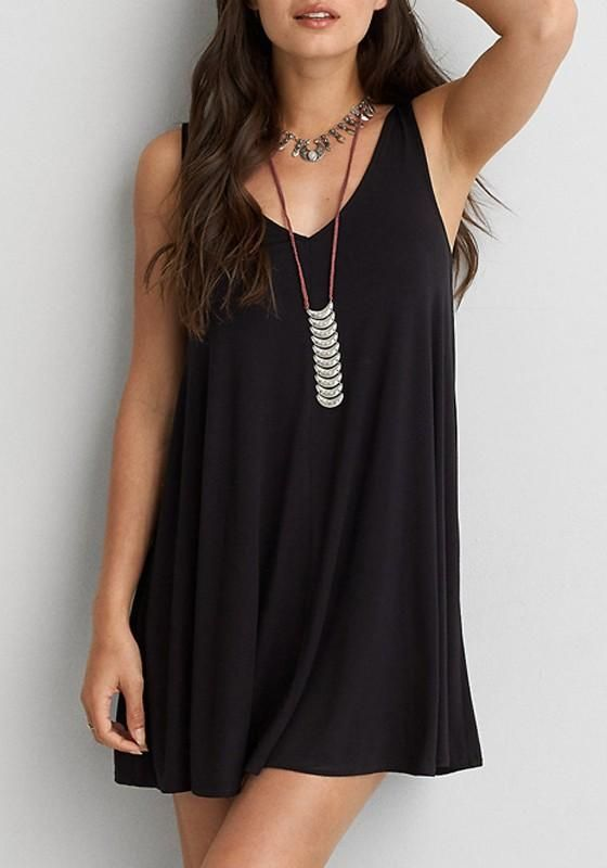 Black Cross Back Draped Open Back Plus Size Mini Dress
