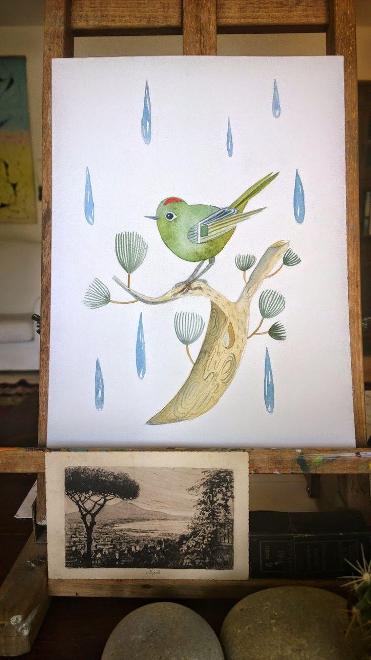 """October bird"" watercolor on Arches   100% watercolor cotton paper Paola Falconi 2014"