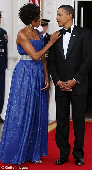 Above the couple is pictured at the state dinner in May 2010