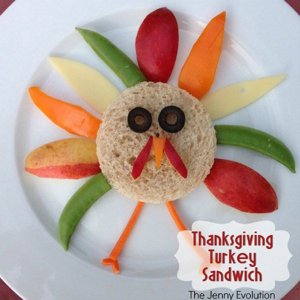 This colorful Thanksgiving turkey sandwich is one kids can easily assemble themselves if you'd like.