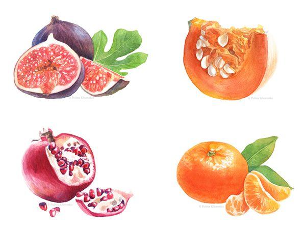 Watercolor fruit & vegetable calendar 2015 by Polina Khoronko on Behance