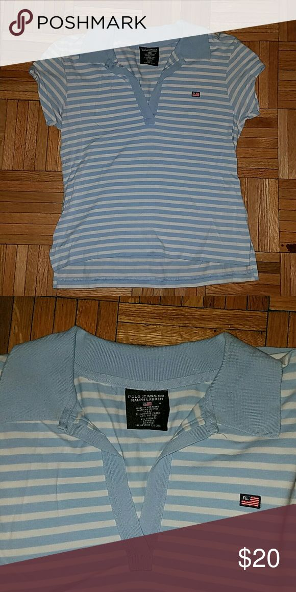 Polo Jeans Co. Light Blue Stripe Polo Shirt Very gently used! In excellent condition - worn twice Polo Jeans Co. Ralph Lauren Tops Tees - Short Sleeve