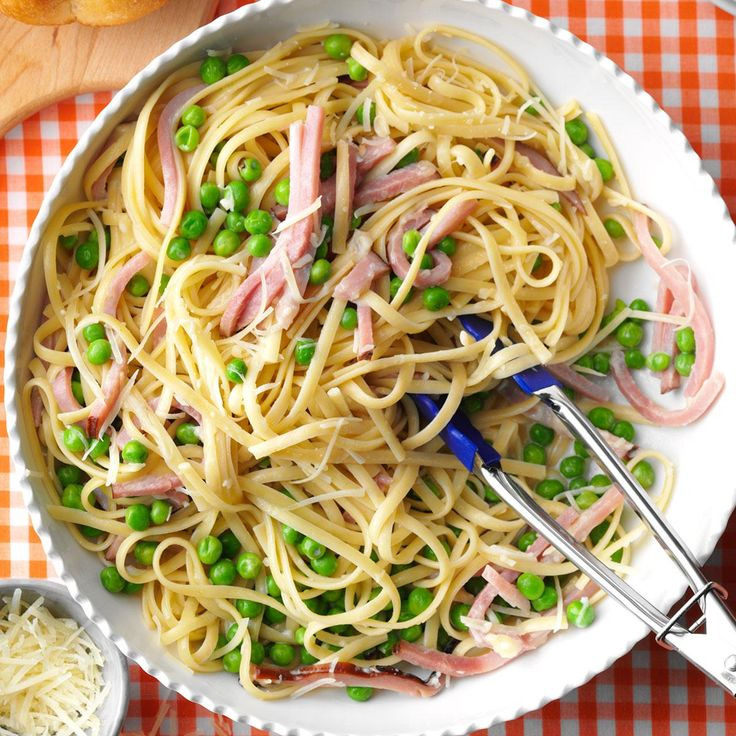 Hay and Straw Recipe -This recipe is not only quick and easy to prepare, it's pretty, too. This colorful pasta dish combines julienned ham, Parmesan cheese, peas and linguine.—Priscilla Weaver, Hagerstown, Maryland