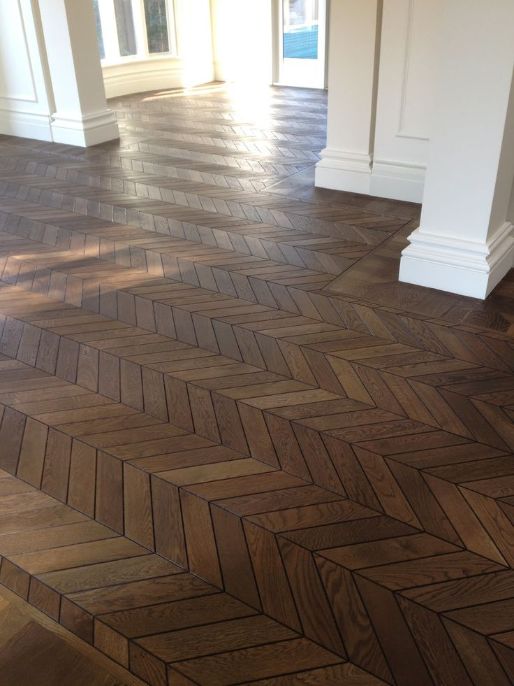 Herringbone Tile Floor Living Room
