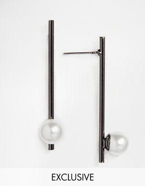 silver jewelry online Designsix Faux Pearl Long Bar Drop Earrings