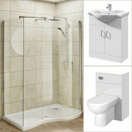 Mayford Bathroom Suite, Elegance 8mm Curved Walk in Shower Enclosure 1400 x 900mm with Tray Right Handed
