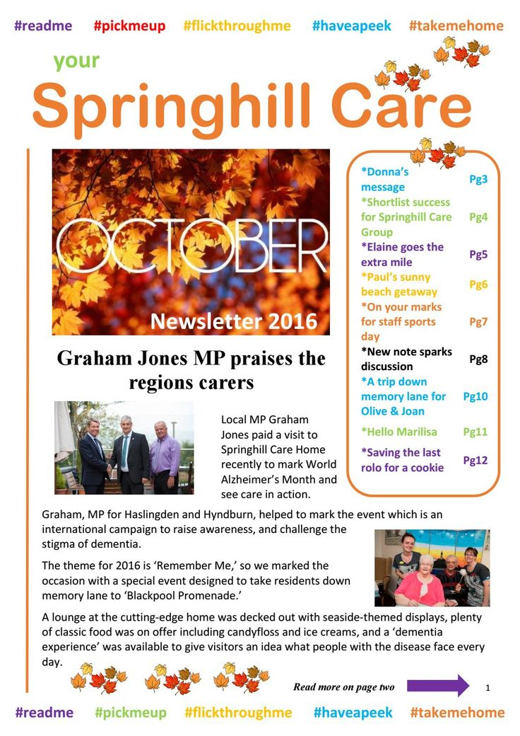 Springhill Care Group Newsletter October 2016  Our October Newsletter is available to read now - ENJOY #GreatCareNews