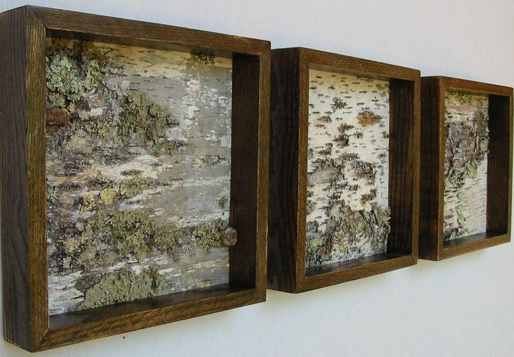 Birch Triptych Art, Birch Bark, Modern,Minimalist, urban, Rustic, shabby chic