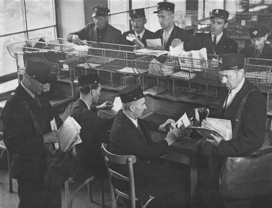 Postmen of Prague post office, 1946 (photo courtesy of www.ceskaposta.cz)