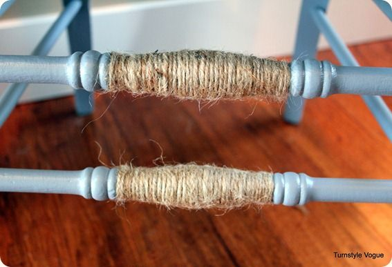 add cottage/country charm by wrapping spindle with jute
