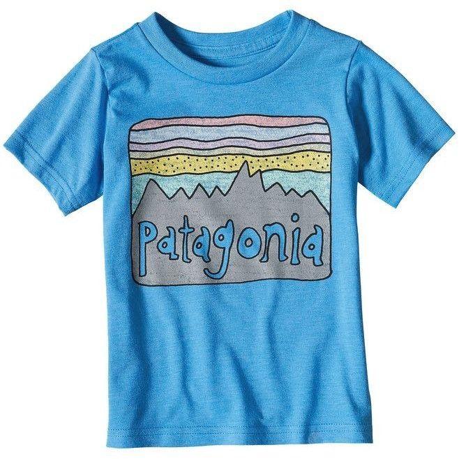 Patagonia Baby Fitz Roy Skies Cotton/Poly T-Shirt - Radar Blue