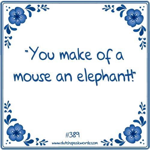 Dutch expressions in English: maak van een muis geen olifant