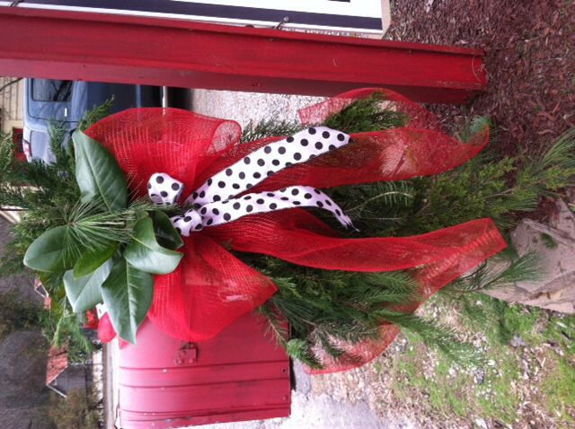 Christmas Mailbox Decoration - Bright Red Deco Mesh Bow with White & Black Polka Dot Ribbon and Greenery