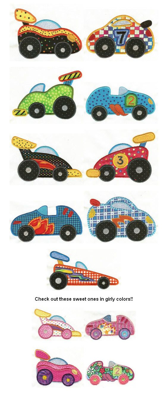 Embroidery | Free Machine Embroidery Designs | Speedy Racecars Applique