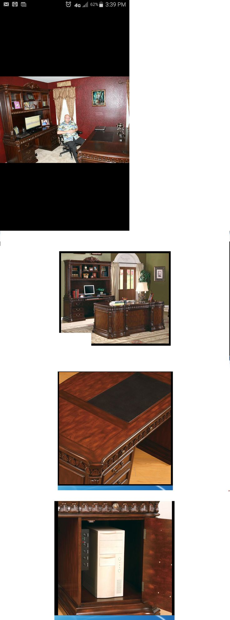 Office Furniture: Union Hill 3 Piece Executive Desk Set Wood Hutch Fine Office Furniture Credenza -> BUY IT NOW ONLY: $3700 on eBay!