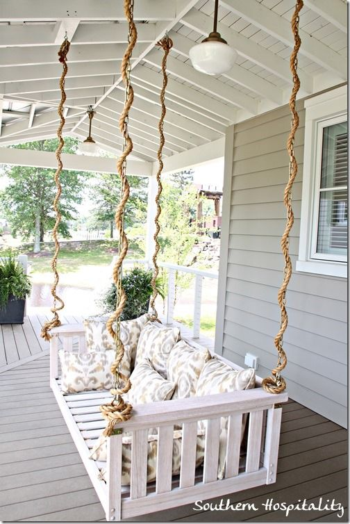 rope detail on porch swing - Front Porch Swing