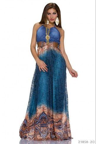 Εντυπωσιακό μάξι φόρεμα με ζώνη - Πετρόλ Πολύχρωμο